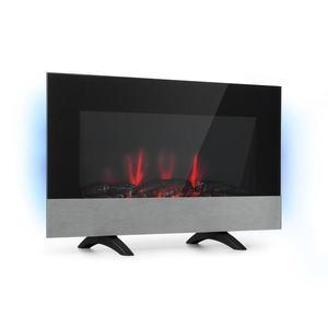 Klarstein Basel Baseline, șemineu electric, 2000 W, 2 nivele, termostat, sticlă, oțel inoxidabil imagine