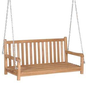 Banca balansoar pentru gradina, din lemn de tec Swing Natural, l120xA60xH57, 5 cm imagine