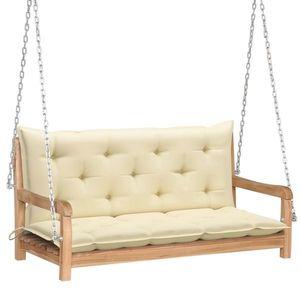 Banca balansoar pentru gradina, din lemn de tec si 2 perne incluse, Swing Crem / Natural, l120xA60xH57, 5 cm imagine