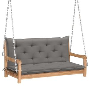 Banca balansoar pentru gradina, din lemn de tec si 2 perne incluse, Swing Gri / Natural, l120xA60xH57, 5 cm imagine