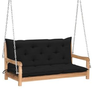 Banca balansoar pentru gradina, din lemn de tec si 2 perne incluse, Swing Negru / Natural, l120xA60xH57, 5 cm imagine