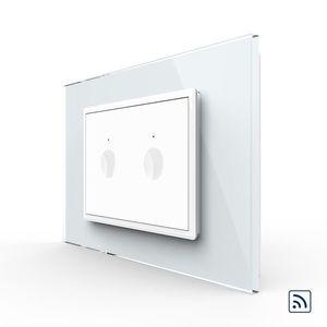 Intrerupator dublu wireless cu touch Livolo cu rama din sticla, standard Italian – Serie noua imagine