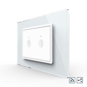 Intrerupator dublu cap scara / cap cruce wireless cu touch Livolo cu rama din sticla, standard Italian – Serie noua imagine
