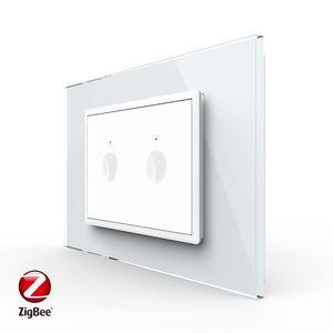 Intrerupator dublu cu touch Livolo cu rama din sticla, protocol ZigBee, standard Italian – Serie noua imagine