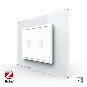 Intrerupator dublu cap scara / cap cruce cu touch Livolo cu rama din sticla, standard Italian, protocol ZigBee – Serie noua imagine