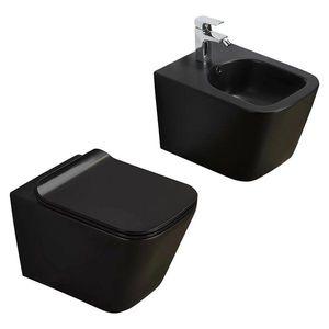Vas WC din ceramică, Negru imagine