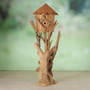 Casuta decorativa pentru pasari, din lemn de tec Calva Natur, Ø50xH150 cm imagine