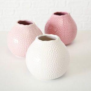 Vaza decorativa din ceramica Tessa Roz / Alb, Modele Asortate, Ø13xH13 cm imagine