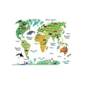 Sticker Autocolant Decorativ Harta Lumii si Animalele imagine