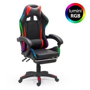 Scaun de gaming, negru, piele ecologică imagine