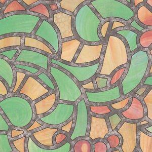 Autocolant Gekkofix vitraliu Semitransparent Reims verde cu galben 90cmx15m cod 10426 imagine