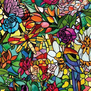 Autocolant d-c-fix vitraliu Semitransparent Flori Multicolore Tulia 45cmx15m cod 200-3231 imagine