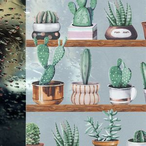 Autocolant Gekkofix vitraliu Semitransparent static (fara adeziv) cactusi 67.5 cm x 1.5 m cod 14149 imagine