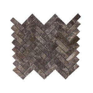 Mozaic Marmura Dark Emperador Herringbone Polisat 2.5 x 5 cm imagine