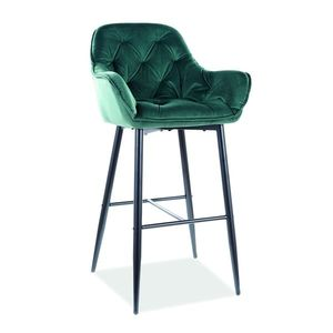 Scaun de bar tapitat cu stofa si picioare metalice Cherry H-1 Velvet Verde Inchis / Negru, l56xA40xH105 cm imagine