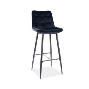 Scaun de bar tapitat cu stofa si picioare metalice Chic H-1 Velvet Negru, l45xA37xH109 cm imagine