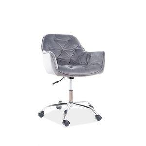 Scaun de birou ergonomic tapitat cu stofa Q-190 Velvet Gri, l60xA44xH80-91 cm imagine