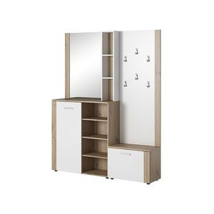 Dulap hol cu oglinda si cuier, din pal cu 2 usi, P-007 Stejar / Alb, l150xA30xH190 cm imagine
