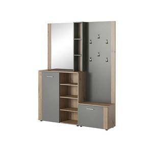 Dulap hol cu oglinda si cuier, din pal cu 2 usi, P-007 Stejar / Antracit, l150xA30xH190 cm imagine
