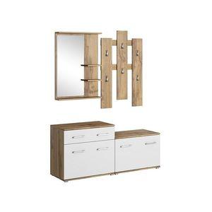 Dulap hol cu oglinda si cuier, din pal, cu 2 usi si 1 sertar, P-008 Stejar / Alb, l137xA42xH180 cm imagine