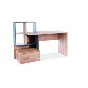 Masa de birou din pal, cu biblioteca si sertar B-003 Stejar Wotan / Alb, L150xl50xH105 cm imagine