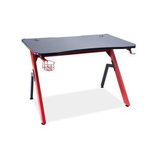 Masa de birou din furnir si metal, cu LED inclus, B-006 Negru / Rosu, L120xl66xH75 cm imagine