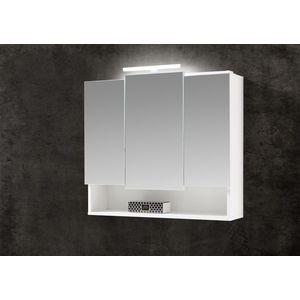 Dulap baie suspendat Seven din pal, 3 usi si oglinda, cu Iluminare Led, Alb, IP20, 6500K, 385LM, l80xA22xH70 cm imagine